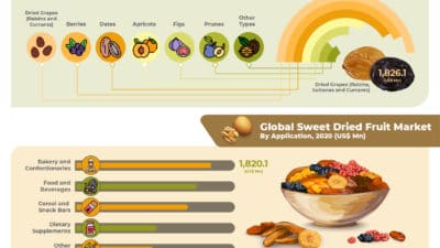 Global Sweet Dried Fruit Market is projected to reach US$ 11,555.5 Mn in 2029 at a CAGR of 5.6% from 2020 to 2030